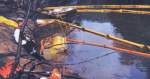 Oil booms were deployed in the creek